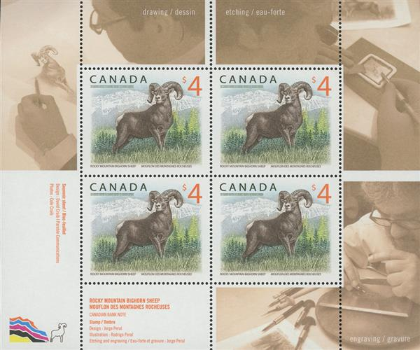 2018 $4 Rocky Mountain Bighorn Sheep, Mint Souvenir Sheet of 4 Stamps, Canada