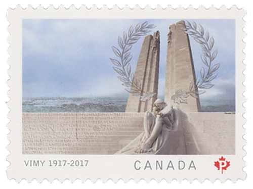 2017 National Vimy Memorial Monument single stamp from booklet