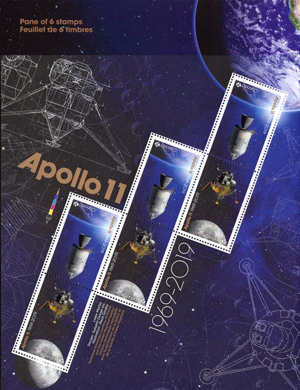 2019 Apollo 11 50th Anniversay, Sheet of 6 Stamps, Mint, Canada
