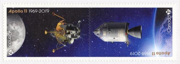 2019 Apollo 11 50th Anniversay, Set of 2 Stamps, Mint, Canada