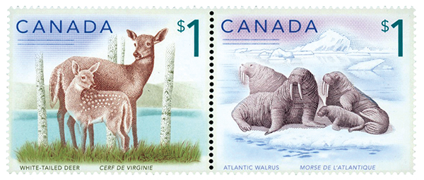2019 $1 White-tailed Deer and Atlantic Walrus, Mint, Set of 2 Stamps, Canada