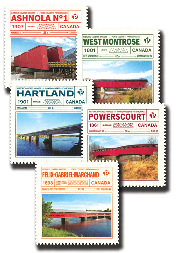 2019 Historic Covered Bridges, Mint, Set of 5 stamps, Canada