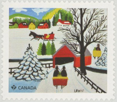 2020 Christmas - Winter Sleigh Ride by Maud Lewis, Mint Stamp, Canada