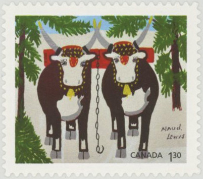 2020 Christmas - Team of Oxen by Maud Lewis, Mint Stamp, Canada