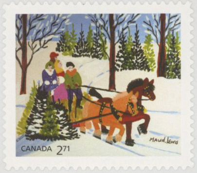 2020 Christmas - Family and Sled by Maud Lewis, Mint Stamp, Canada