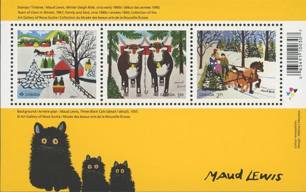 2020 Christmas by Maud Lewis, Mint Souvenir Sheet, Canada