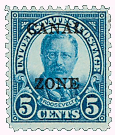 1927 5c dk blk, ovprnt type B