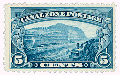 1929 5c Canal Zone - Gaillard Cut - blue, flat plate printing, unwatermarked