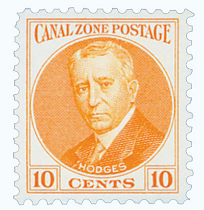 1928-40 10c Canal Zone - Lt. Col. Harry Hodges - orange, flat plate printing, unwatermarked