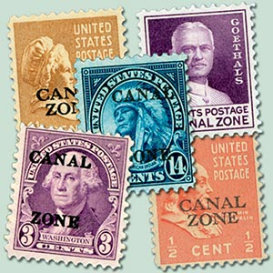 1933-39 1/2c-14c Canal Zone, (5)