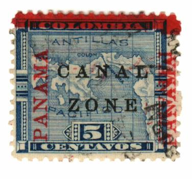 1904 5c blue, 'PANAMA' double