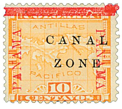 1904 10c yel, blk ovprnt horiz.