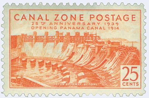 1939 25c org, Gatun Spillway Before