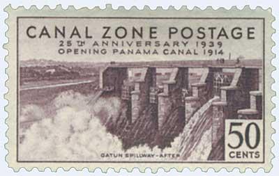 1939 50c vio brn, Gatun Spillway After