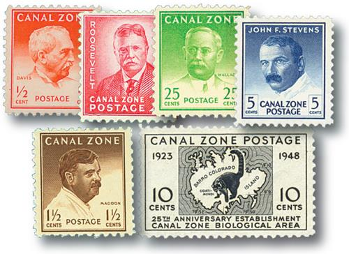 1946-49 1/2c-25c Canal Zone, (6)