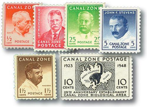 1946-49 1/2c-25c Canal Zone, (6)