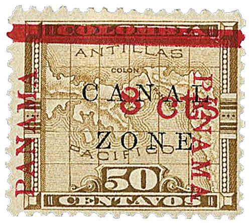1904 8c on 50c bis brn, ovprnt horiz.