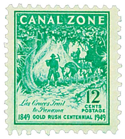 1949 12c brt bl grn, Trail to Panama