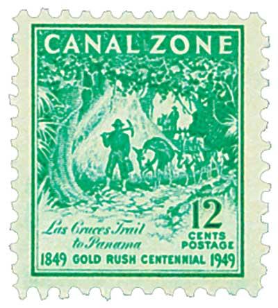 1949 12c brt bl grn, Trail to Panama