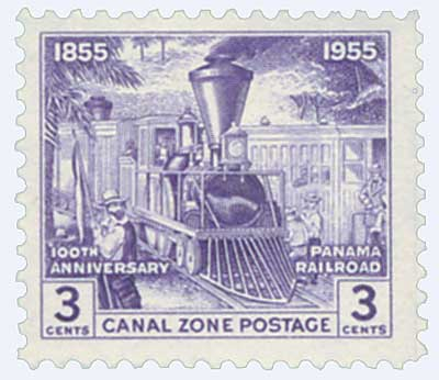 1955 3c vio, Early Railroad Scene