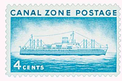 1958 4c grn bl, S.S. Ancon
