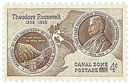 1958 4c brn,  Roosevelt & Map