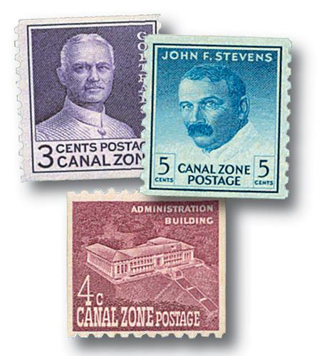 1960-62 1c-3c Canal Zone Coils