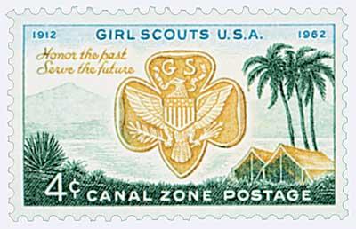 1962 4c bl, dk grn, bis, Girl Scouts