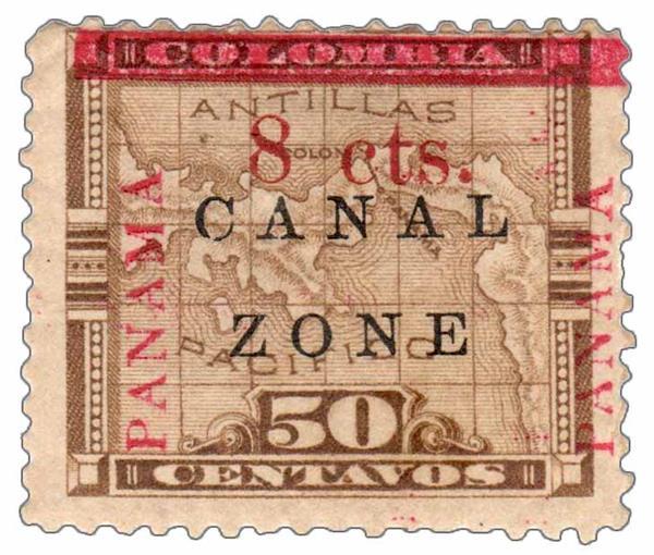1905 8c on 50c bis brn,ovprnt up,type b