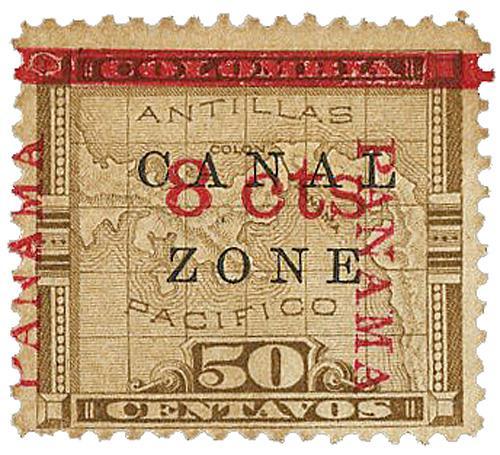 1905 8c on 50c w/Panama ovrpnt up&down