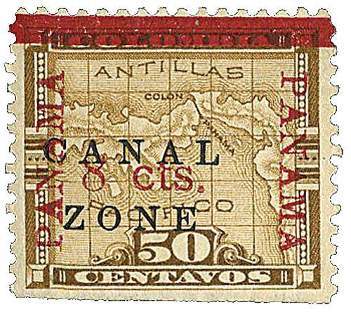 1905-06 8c on 50c Bister brown Panama