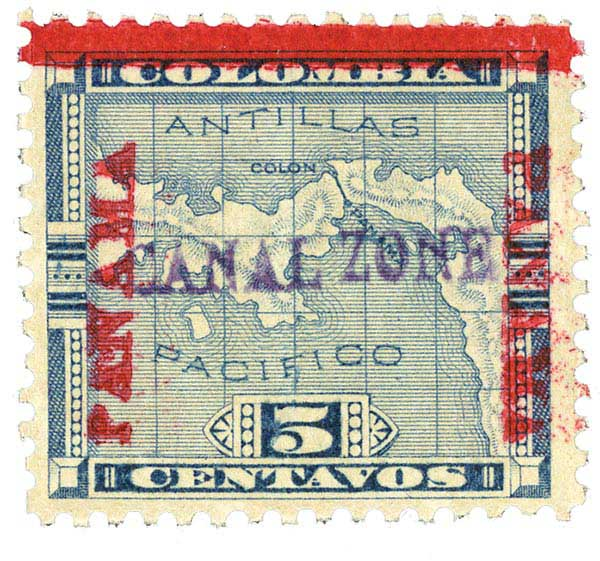 1904 5c Canal Zone stamp, black, horizontal overprint