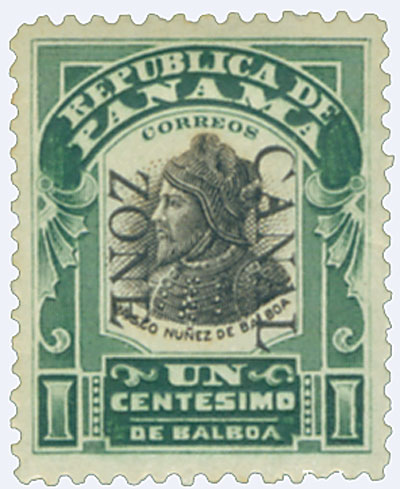 U.S. #CZ22 – The first Canal Zone issues were overprinted Panama stamps.