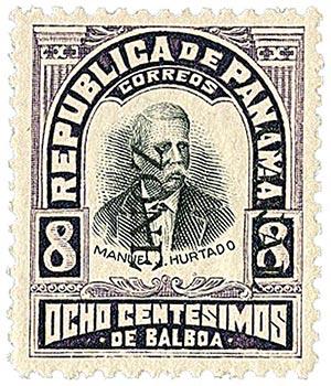 1906 8c pur,blk, Hurtado, ovprnt dwn