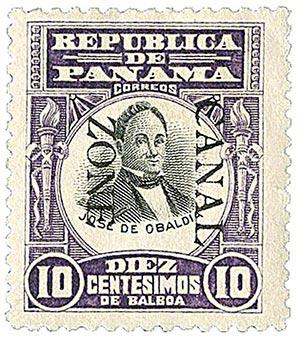 1906 10c vio,blk, Obaldia, ovprnt dwn