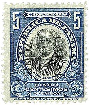 1909 5c bl,blk, Arosemena, ovprnt dwn