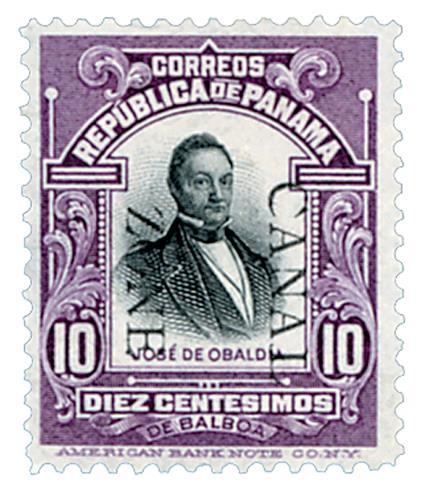 1909 10c vio,blk, Obaldia, ovprnt down