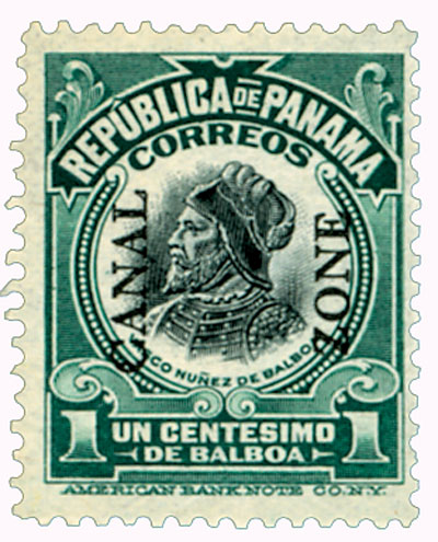 1909 1c dk grn,blk, Balboa, type I