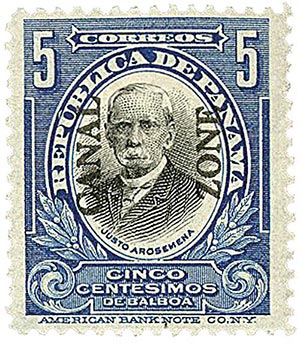 1909 5c bl,blk, Arosemena, type I