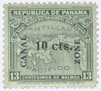 1911 10c on 13c gry, type I