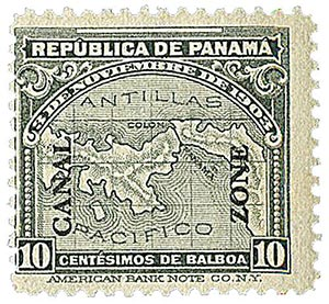 1914 10c gry Panama map, ovprnt up