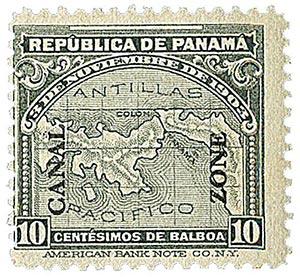1914 10c gry Panama map, ovprnt up