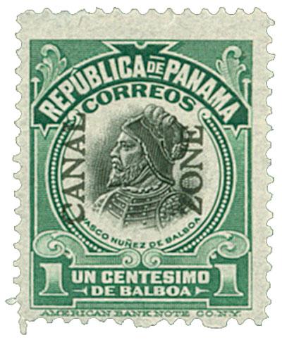 1913 1c grn,blk, Balboa, type II
