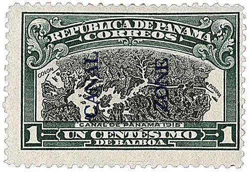 1915 1c dk grn,blk, bl ovprnt type II