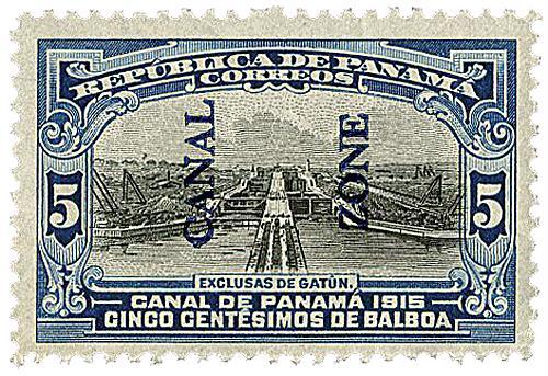 1915 5c bl,blk, bl ovprnt type II
