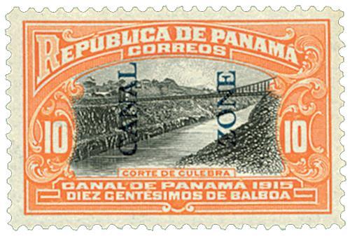 1915 10c org,blk, bl ovprnt type II