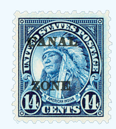 1925 14c Canal Zone, dark blue, type A overprint in black