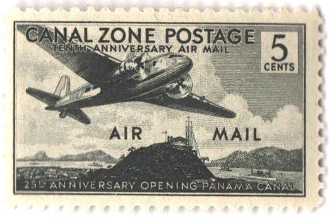 1939 5c grnsh blk, Douglas plane