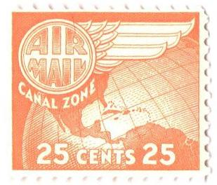 1958 25c org yel, Globe & Wing