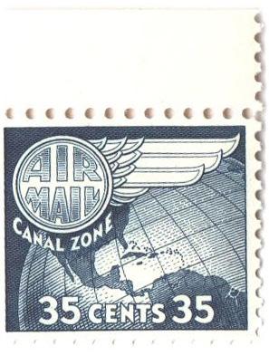 1958 35c dk bl, Globe & Wing
